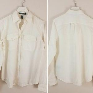Lauren | Linen Button Up Blouse [Tops]